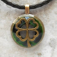 shamrock necklace: mens jewelry - mens necklace - lucky jewelry - shamrock jewelry - irish jewelry - unique gift - boyfriend gift