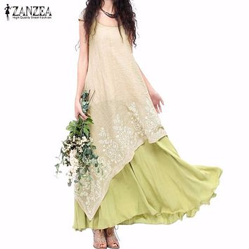 Vintage Vestidos ZANZEA Women Dress  Summer Casual Loose O Neck Short Sleeve Embroidery Long Maxi Dress Plus Size S-5XL