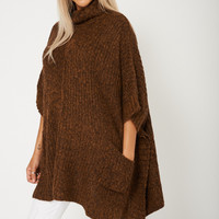 Wide Turtle Neck Brown Poncho Sweater