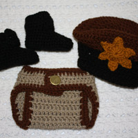 Sheriff Outfit  Baby Diaper Cover, Hat and Booties Set-  Baby Shower Gift