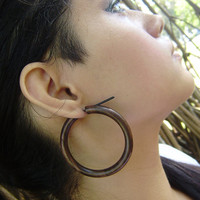 Stick Gauge Earrings Anela's Hawaii organic large Stick Wood hoop Earrings Wave Tribal