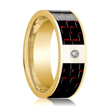 Mens Wedding Band 14K Yellow Gold and Diamond with Black & Red Carbon Fiber Inlay Flat Polished Design