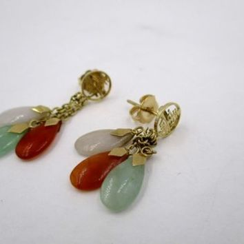 Vintage 14K Yellow Gold Jade Dangle Earrings Asian Chinese
