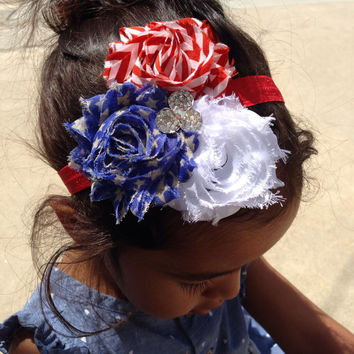 Red, White, and Blue Memorial Day Shabby Chiffon Headband, Baby Girl Headband, Infant Girl Headband, Newborn Girl Headband, Women Headband