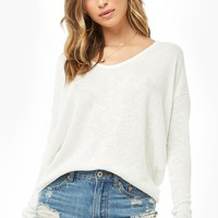 Sweater-Knit V-Neck Top