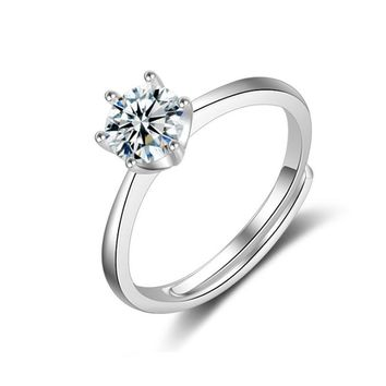 Fashion Jewelry 6MM Solitaire Crystal Adjustable Ring for Women Round Cubic Zirconia Resizable Engagement Band Dropshipping R165
