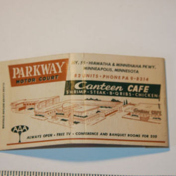 Parkway Motor Court Canteen Cafe Minneapoilis Minnesota Matchbook Cover Vintage