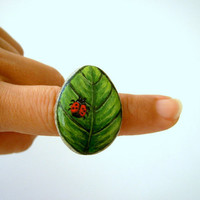 Green Leaf  Handpainted Pebble Ring   Adjustable by ShebboDesign