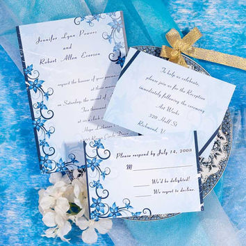 Sea Blue Wedding Invitations Sets - Floral Wedding Invitation with Simple Design - Free RSVP Cards and Envelope EWI039