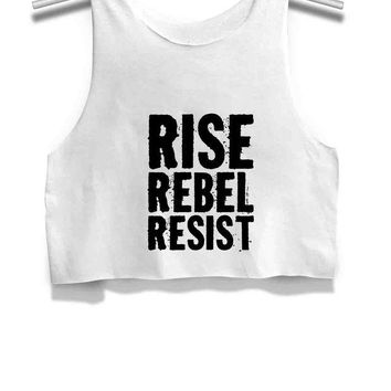 DCCKL83 Rise Rebel Resist Title Womens Crop Tank Top