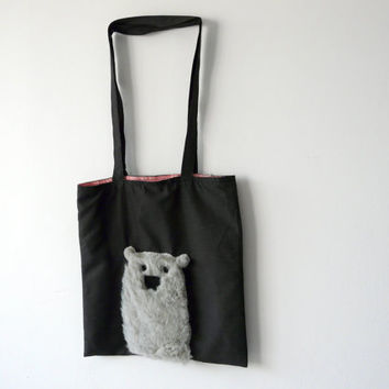 Animal Accessory Bag, Market Bag, Grocery Bag, Cross Body Bag, Bear Bag, Carryall Bag, Grey Tote Bag, Bear Tote Bag