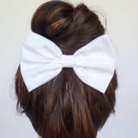Hair Bow Clip White cute women teens girls cheer big large fabric solid adorable
