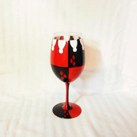 Custom Harley Quinn acrylic wineglass