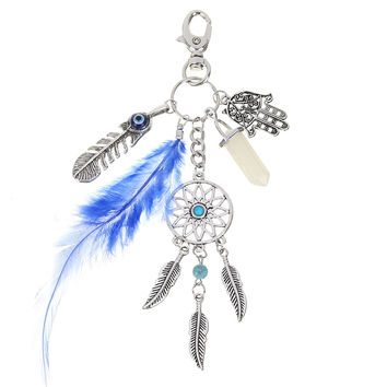 Multi Pendants Dream Catcher Gemstone Feather Palm Fatima Hand Keychain