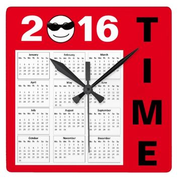 Happy New Year 2016 Cute Red Black Smiley Calendar Square Wall Clock