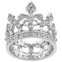 Kate Bissett Silvertone Clear Cubic Zirconia Crown-style Cocktail Ring | Overstock.com Shopping - The Best Deals on Cubic Zirconia Rings