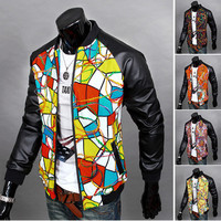 Mens Street Style Print Zip Leather Jacket