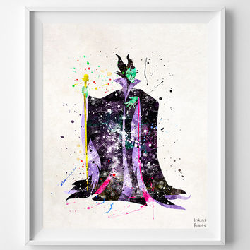 Maleficent Print, Watercolor Art, Disney Poster, Type 2, Sleeping Beauty, Baby Gift, Kid Room Decor, Wall Decor, Fathers Day Gift