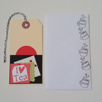 50% OFF SALE - Love Tea Gift Tag Set of 3 with Stamped Envelopes