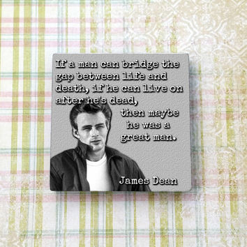 James Dean Quote Vintage Hollywood Ceramic Tile Refrigerator Fridge Magnet Cubicle Dorm Decor Magnet Board
