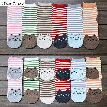 Hot!! 3D animals style striped fashion cartoon socks women 3D cat footprints Cute Cotton Socks floor soks #2458
