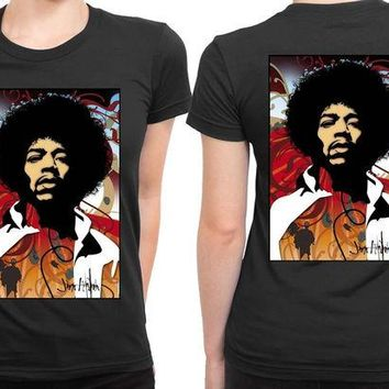 VONEED6 Jimi Hendrix Fan Art Modern 2 Sided Womens T Shirt