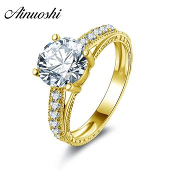 AINUOSHI 10k Solid Yellow Gold 2 Carat Engagement Ring Round Cut Simulated Diamond Wedding Ring for Bridal Customized Jewelry