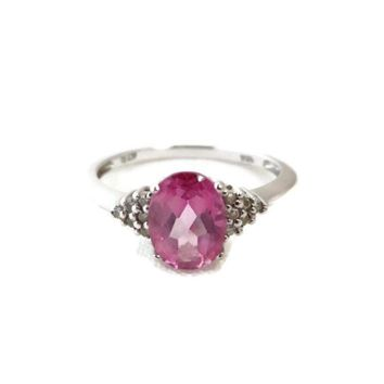 Pink Topaz & Diamond Ring - 14K White Gold Ring - Vintage Jewelry Ring, Size 7