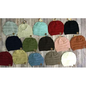 Slouchy Melange Knit Beanie: Multiple Colors***NEW COLORS***