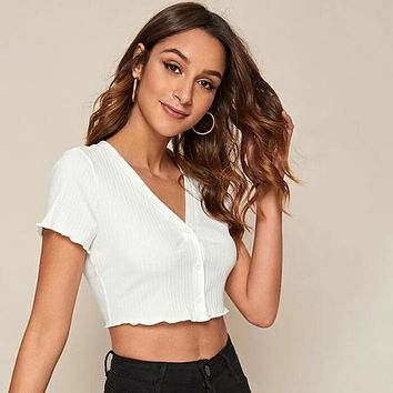 Lettuce Trim Buttoned Front Rib-knit Crop Shirt Top Tee
