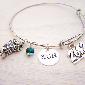 Marathon Bracelet - Runner Bracelet - Personalized Bracelet - Birthstone Bracelet - Silver Adjustable Bangle Bracelet - Gift for Runner