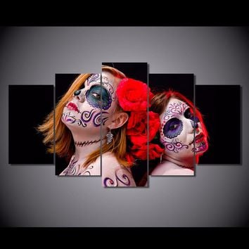 Day Of The Dead Women 5pc Canvas
