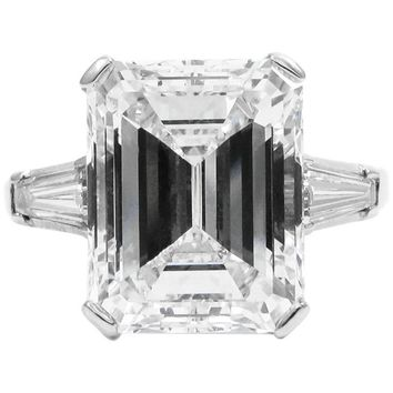GIA Certified 7.27 Carat F VVS2 Emerald Cut Diamond Classic Platinum Ring