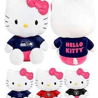 "NFL 8"" Team Logo 2014 HELLO KITTY Plush Stuffed Shirt Doll - Pick Your Team!"