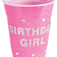 Birthday Girl Plastic Cup W-clear Stones - Pink