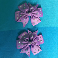 Pair of Crystal Purple Hair Bows