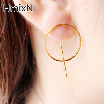 Simple Minimalism Fashion Statement Jewelry Big Circle Earring Metal Punk Style round stud Earring For Women copper Brincos