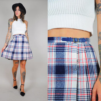 Scottish PLAID vtg 80's tartan Schoolgirl mini SKIRT woven high waist Kilt pin Pleated
