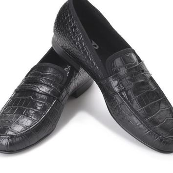 Handmade Crocodile embossed Genuine Leather Men's shoes party and wedding Men Loafers male's Causal Flats Size
