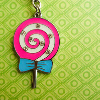Lollipop keychain, candy keyring, pink lollipop keychain accessories cute keychain food keyring, blue bow keychain best friend birthday gift