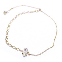 Swarovski bracelet, 14K Gold plated chain Bracelet with White Swarovski