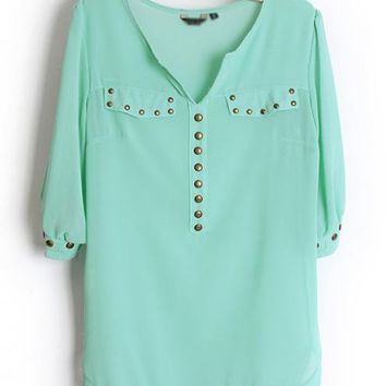 Rivets Chiffon Green Blouse $40.00