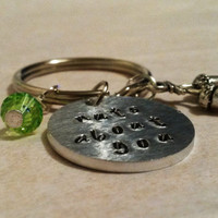 Nuts about you keyring/keychain hand stamped