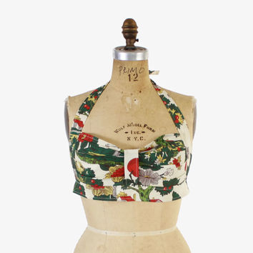 Vintage 60s HALTER TOP / 1960s Novelty Johnny Appleseed Print Cotton Pin-Up Crop Top XS - S