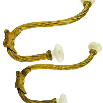 Ormolu and Ceramic Coat Wall Hooks, Antique French, circa 1880