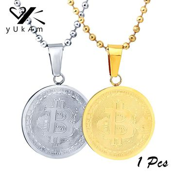 YUKAM Classic Mens Silver Gold Bitcoin Pendants Necklaces Stainless Steel Round BTC Bit Coin Disc Necklaces Collectible Art Gift