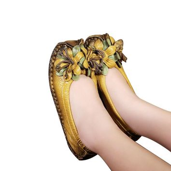 Spring And Autumn 2017 Fashion Loafers Women Personality Handmade Shoes Woman Genuine Leather Soft Casual Flat Shoes Women Flats