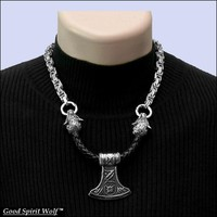 Viking Battle Axe Pendant on Leather Torc with Snarling Wolf Head Ends on Byzantine Design Necklace