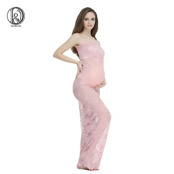 Maternity Lace Maxi Long Dressfor Photo Shoot Straight Sheath Style Free Size for Photography lace Sexy dress