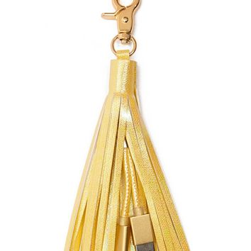 Faux Leather Tassel Charger Keychain